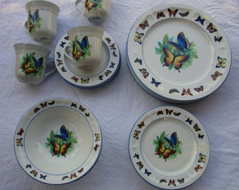 Tabletops Unlimited Butterflies Dinnerware Dinner Plates Bread Butter Plates Cups Saucers Bowls 4 of Each