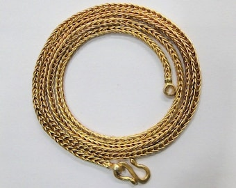 Vintage Antique 22 K Gold Handmade Rope Chain Necklace Rajasthan India