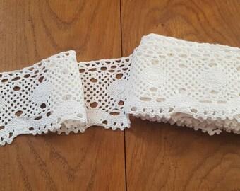 White Crochet Lace, 3 inchs Wide, Crochet Lace Trim, Scrapbooking, Junk Journals, Scrapbooks