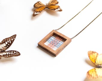Handmade eco wooden necklace Square blue embroidery thread Organic vegan geometric natural wood Minimalist jewelry natural gift boho chic
