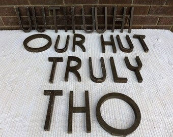 Vintage Wood Art Deco Letters 6 Inch Your Choice H I L R T U Y Indoor Outdoor Slim Type Face Brown Painted Chippy Mid Century Sign