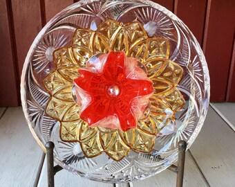 "Repurposed Glass Flower, Sun Catcher Glass Garden Art - ""Flare"" Brilliant Orange Yellow MURANO Glass Flower, Made from Glass Plates"