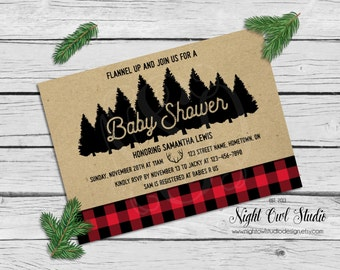 Buffalo Plaid Baby Shower Invitation, Lumberjack Invite, Rustic Invitation, Printable Invitation