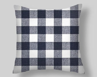 Blue Plaid Pillow Covers, Navy Pillows, Pillow, Throw Pillow, Checked Pillow , Decorative Pillows, Pillow Covers
