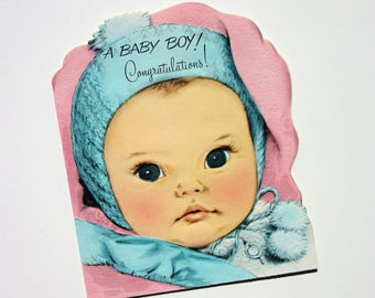 Vintage New Baby Card A Baby Boy Congratulations Features a Sweet Newborn with a Blue Knit Hat Perfect Congratulations Card for New Parents