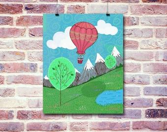 Hot Air Balloon Ride   Digital Illustration   Instant Download Digital File   You Print at Home   Digital Art   Whimsical Illustrations Art