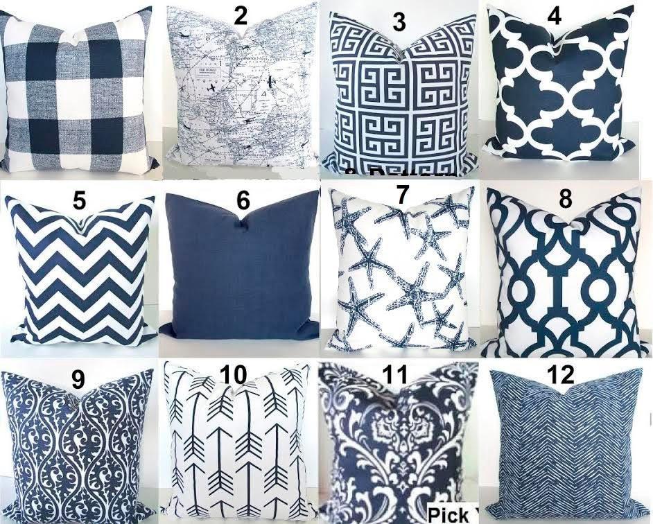 Blue Pillows Blue Throw Pillows Navy Blue Decorative Pillow Covers Dark  Blue Throw Pillow Covers .ALL SIZES. 20x20 24x24