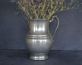Vintage Genuine Pewter Pitcher | Large Pewter Pitcher | Ornate Handle | Farmhouse Style | Wedding Decor | Water Pitcher