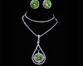 50 Diamond necklace peridot necklace peridot earrings wedding 1st Anniversary gift for her August birthstone leo virgo