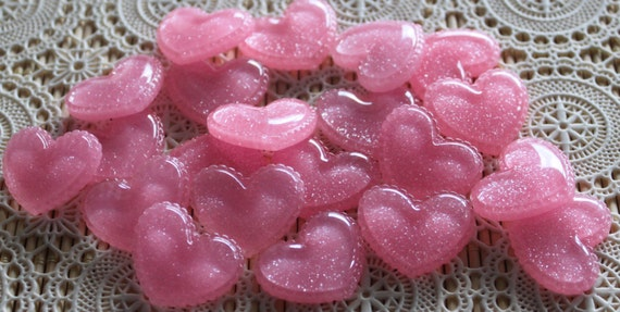 4 Pieces. Resin Flatback Cabochons 27mm Pink Shimmer Hearts