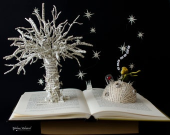 The Little Prince - You Are My Only One Unique Rose - Book Sculpture - Altered Book