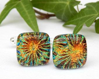 Golden Copper Dichroic Glass T Bar Cufflinks, Fused Glass Mens Jewelry, Firework Art Glass Cuff Links