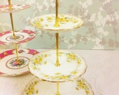 Edwardian Hand Painted 3 Tier Cake Stand
