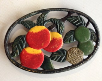 Fruit Design painted Finish Cast Iron Trivet or Wall Hanging Country Kitchen decor