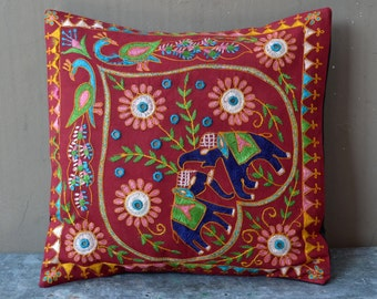Elephant & heart boho Indian cushion vintage hippie pillow ethnic bohemian mirrored embroidered home 70's decor handmade cotton tribal