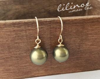 14k Gold Filled Pearl drop earrings