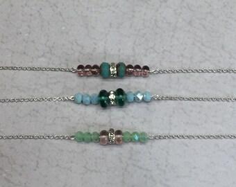 Beaded Rhinestone Choker Pastel bar necklace sea glass pale pink and light blue mint green