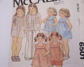 Vintage 1970s McCall's Pattern #6501 Girl's Size 6 Jumper Dress Shirt Sewing Pattern - 1970s Pattern - Girl Dress Pattern - Cut Complete