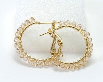 "Golden Shadow Crystal Hoop Earrings - Wire Wrapped Swarovski Crystal, Gold Plated Hoops (20mm, Beaded 1"") - Champagne Earrings"