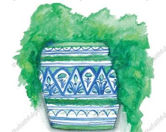 Blue and Green Pot Watercolor Art Print