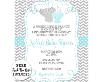 Elephant Baby Shower Invitation, Elephant Invitation, Elephant Baby Shower, Boy Elephant Baby Shower, Elephant Invite