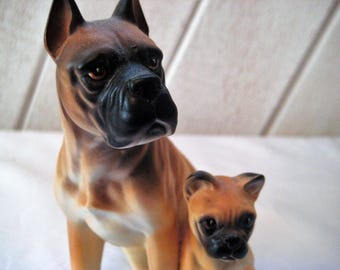 Vintage Boxer statue, boxer family, mother and puppy, brown dog figurine, black muzzle, dog family, collectible, porcelain
