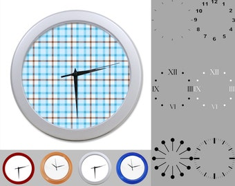 Baby Blue Plaid Wall Clock, Abstract Lined Design, Classic Plaid, Customizable Clock, Round Wall Clock, Your Choice Clock Face or Clock Dial