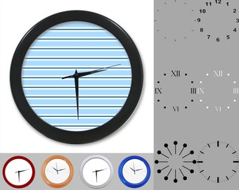 Baby Boy Blue Wall Clock, Abstract Lined Design, Classic Striped, Customizable Clock, Round Wall Clock, Your Choice Clock Face or Clock Dial