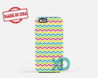 Chevron Phone Case, Chevron iPhone Case, Neon iPhone 7 Case, Mixed Color, Neon iPhone 8 Case, Chevron Tough Case, Clear Case, Bright, Bold