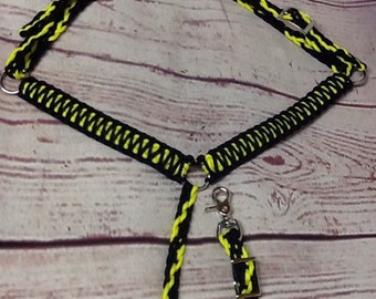 Pony miniature horse breast collar red black and neon yellow pony tack