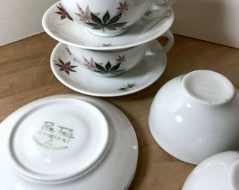1950s Peter Terris for Shenango Calico Leaves Cups and Saucers