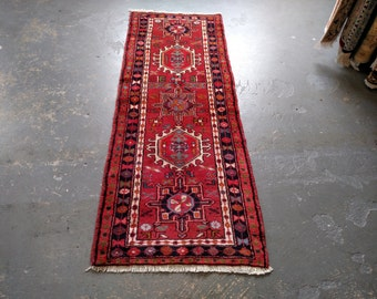Persian Rug - 1990s Hand-Knotted Karaja Persian Rug Runner (3587)