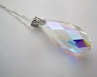Sparkling Crystal Necklace, Aurora Borealis Swarovski Crystal briolette pendant on Sterling Silver necklace, Rainbow Crystal Drop necklace