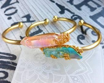 Raw Crystal Bracelet, Crystal Bracelet, Raw Stone Bracelet, Aqua Aura Crystal, Cuff Bracelet, Boho Bracelet, Bohemian Jewelry