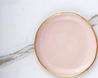 Organic Round Handcrafted Blush Jewelry or Ring Dish with 18k Gold Rim