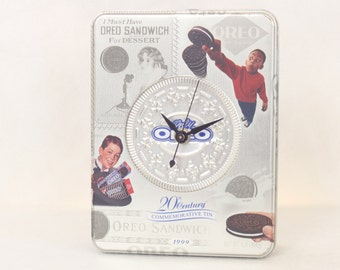 Collectible Oreo Cookie 20th Century Commemorative Tin, Nabisco, 1999, Desk Clock, Silver, Geekery, Clocks by DanO