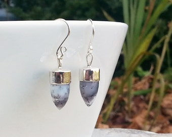 Gemstone Dangle Earrings, 925 Sterling Silver and Dendritic Agate Bullet Shaped Drops, Modern Style; White, Grey and Black, Neutral Colors
