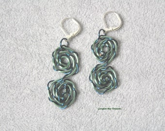 Seafoam green and navy, gorgeous spiral dangle earrings, green, cobalt blue, handmade, gift under 20, GBT227