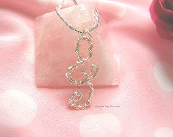 Music pendant, Treble Clef pendant, music lovers gift, music jewellery, perfect gift under 20, silver wire, wire wrap, OOAK, GBT