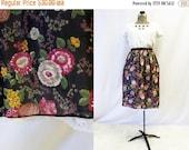 CLEARANCE - FINAL SALE - Plus Size - Vintage 1960s Black Floral Chiffon Lace Trim Skirt (Size 13/14)
