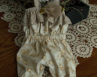 Summer romper for 18 inch dolls with jumping bunnies and silk organza flower accent