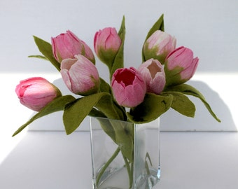 Tulip, in pink, white, felt flowers with leaf bouquet for the apartment bridal bouquet flowers