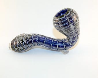 4  3/4 inch White and Blue Sherlock Glass Pipe