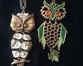 Vtg 60s Set (2) Segmented Owl Necklaces Signed Jonette Jones
