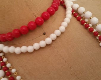 Vintage Necklace Collection De-Stash of 5 Placstic Bead Necklaces in Red and White Summer Jewelry 1980's BOHO Jewelry/Necklace Collection