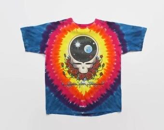 Vintage 90s GRATEFUL DEAD T-SHIRT / 1990s Space Your Face Tie-Dye 92 Tour Tee Shirt L