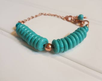 Turquoise and copper beaded bracelet