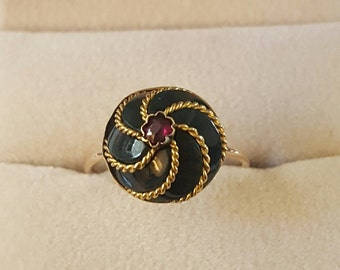 Antique 18k Bloodstone Ruby Ring~Antique Pin Conversion Ring~Size 6 1/2