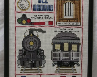 Whimsical Railroad Handmade Cross Stitch for a Child's Bedroom ~ Trains ~ Nursery ~ Interior Decorator ~ Grandparents ~ Playroom