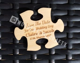 Laser Engraved Jigsaw Puzzle Piece Save The Date Magnet